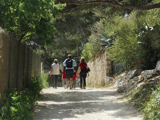 Calanques de Marseille, sentier de randonnée avec promeneurs