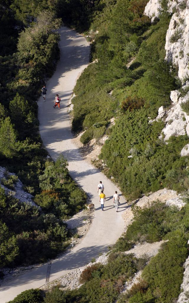 Chemin de randonnée dans les Calanques, promeneurs