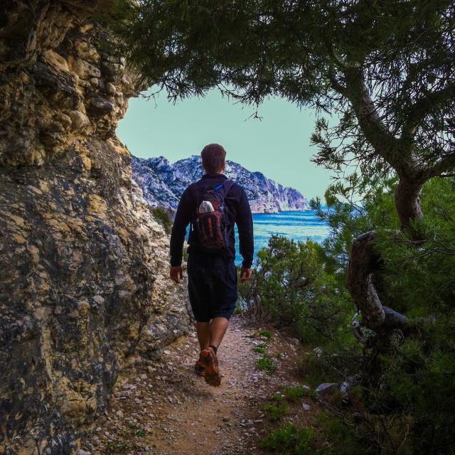 randonneur sur un chemin dans le Parc National des Calansques
