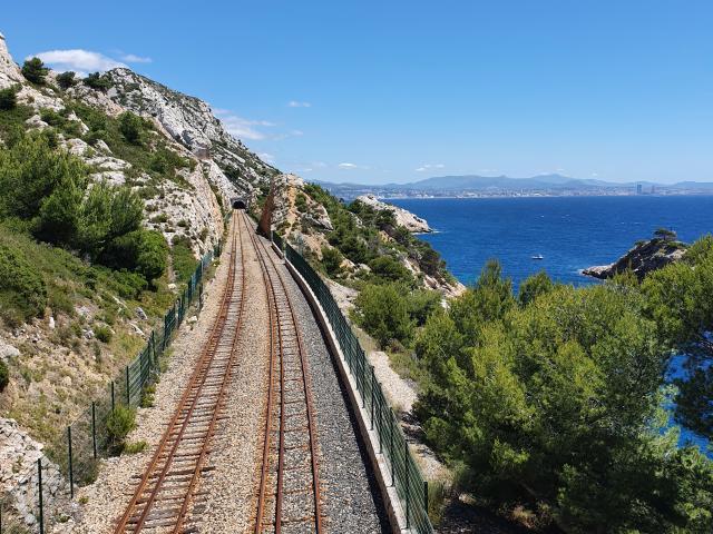 Côte Bleue, ligne de chemin de fer