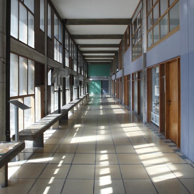 Immeuble Le Corbusier Marseille, couloir vitré