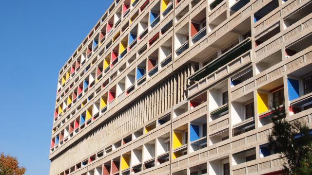 Le Corbusier, La Cité Radieuse, Vue Façade Couleurs