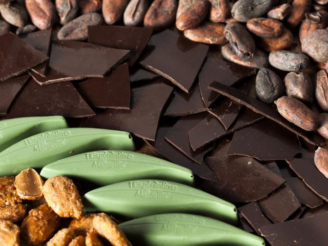 Présentation des Espérantines avec des morceaux de chocolat noir et des graines de cacao, Chocolatier du Panier à Marseille