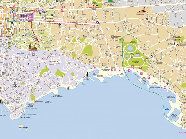 Carte des quartiers Sud de Marseille