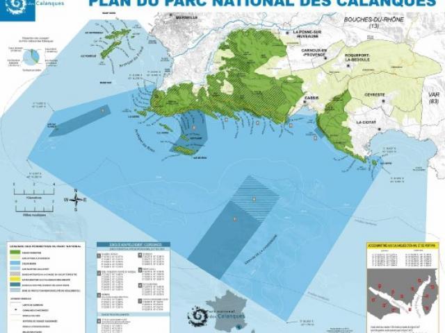 Plan du Parc National des Calanques