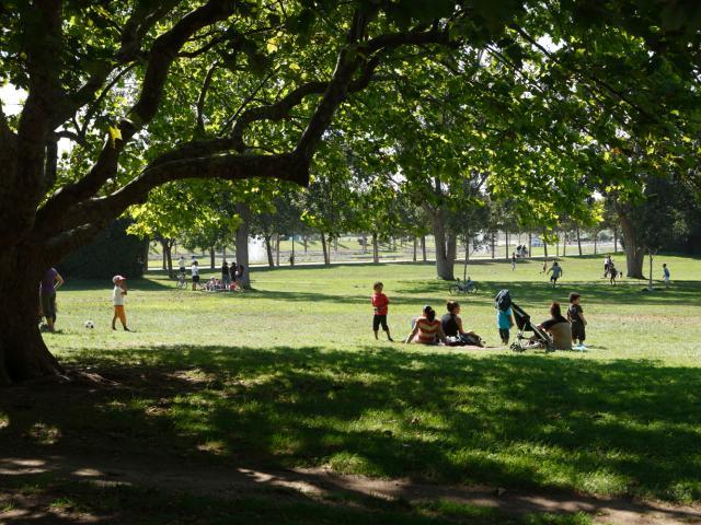Famille assises sur l'herbe et sous les arbres dans le parc Borely à Marseille