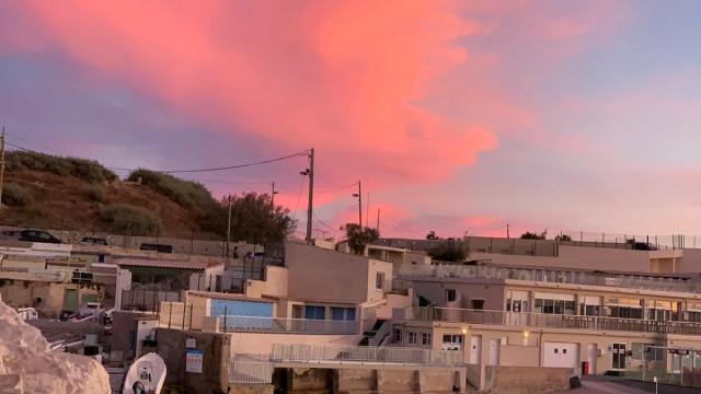 Coucher de soleil sur l'anse de Malmousque à Marseille
