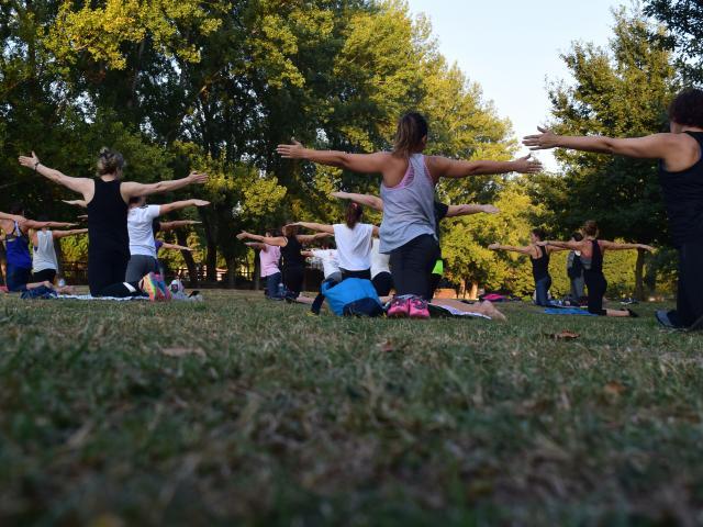 Cours de yoga en plein air dans un parc