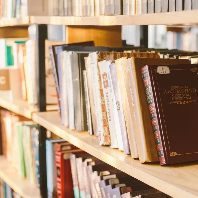 livres rangés sur des étagères dans une bibliothèque