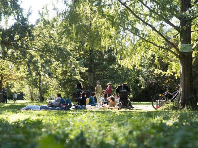 Parc Borely à Marseille, Famille déjeunant sur l'herbe
