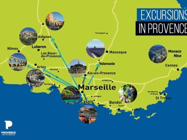 Carte des excursions en provence