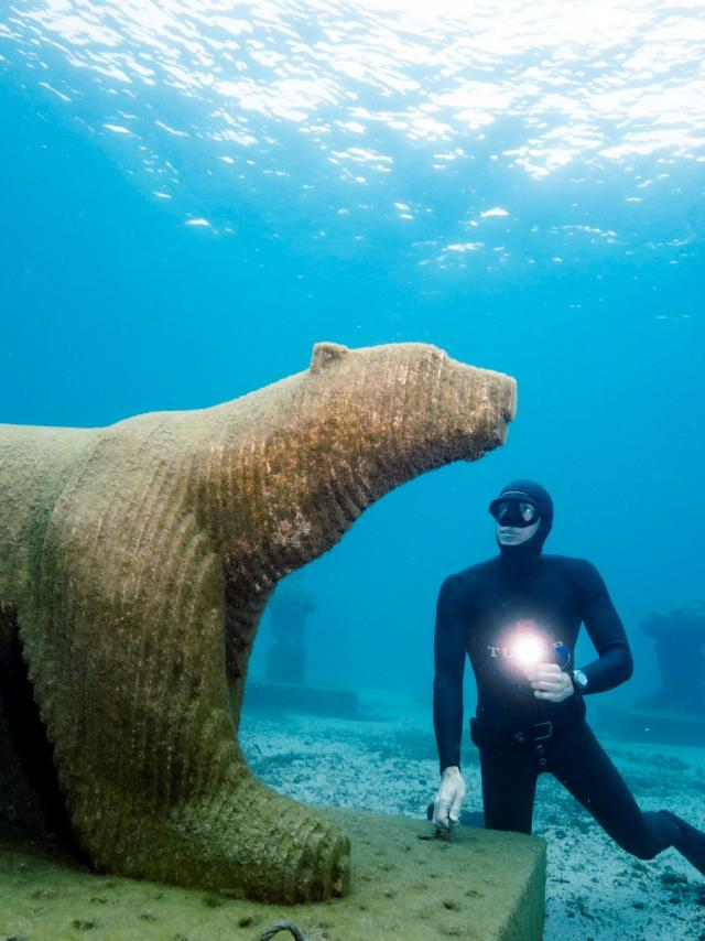 Musée subaquatique de Marseille sculpture L'ourse Polaire Et Morgan Bourc'his