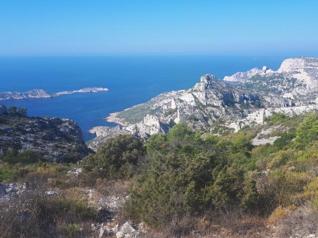 Sentier de randonnée avec vue sur les calanques