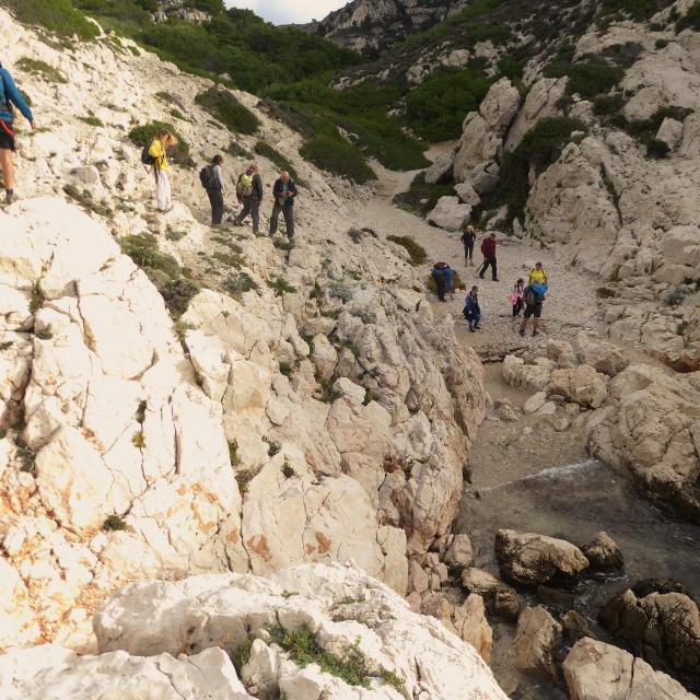 Marcheurs dans la calanque de la mounine