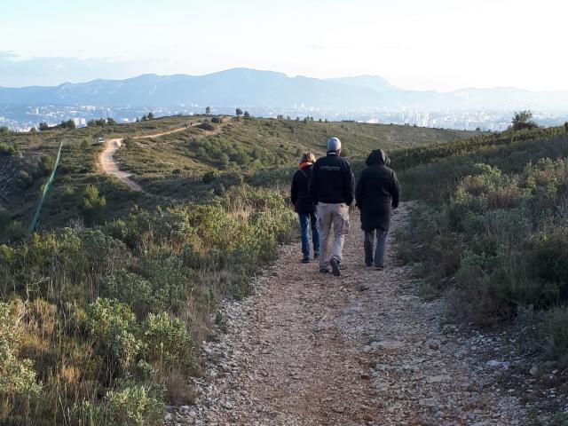 Marcheurs sur un sentier de randonnée